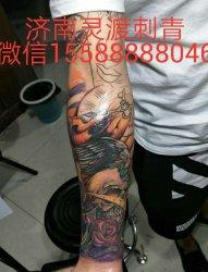 花臂小臂骷髅纹身