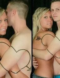 情侣亲密一箭穿心纹身图