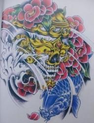极致唯美黄金骷髅头huangjinkuloutou和鲤鱼纹身手稿