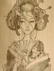 漂亮的日本艺伎ribenyiji的手稿素材