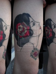 腿部优雅美女肖像刺青