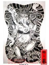 满背大幅象神纹身手稿