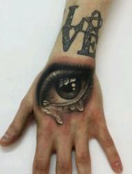 手背上逼真的3d眼睛纹身图案