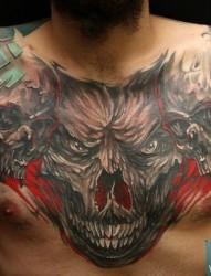 霸气胸前的恐怖3d大骷髅纹身