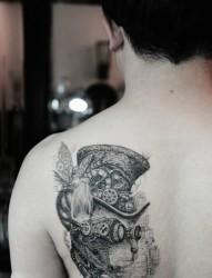 个性蒸汽朋克喵星人肩部纹身图案