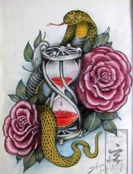 花蛇纹身素材手稿