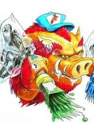 个性彩色野猪手稿图案
