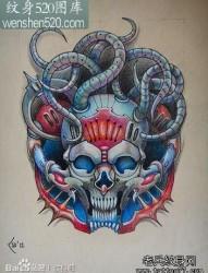 超酷很帅的一张机械骷髅纹身手稿