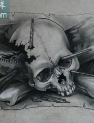 很酷帅气的一张欧美骷髅纹身图案