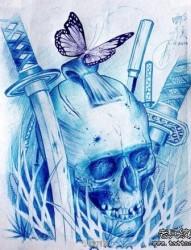 潮流经典的一组骷髅纹身手稿