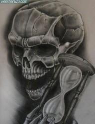 潮流很帅的一张黑灰骷髅纹身手稿