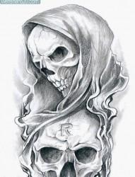 流行经典的黑灰死神与骷髅纹身手稿