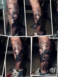 腿部超酷时尚的死神纹身图案