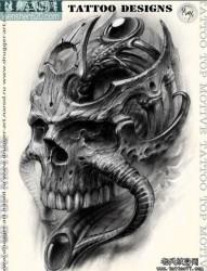 超酷的一张欧美写实骷髅纹身图案