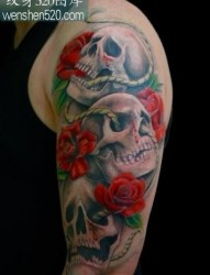 骷髅纹身图案:手臂骷髅玫瑰纹身图案纹身图片