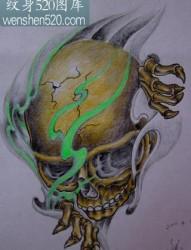 骷髅纹身图案:经典霸气彩色骷髅火焰纹身图案纹身图片