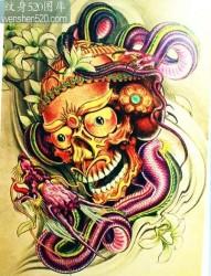 传统嘎巴拉龙纹身图案