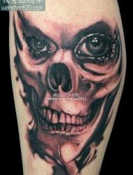 骷髅纹身图案:腿部骷髅纹身图案纹身图片