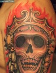 纹身图案:经典手臂彩色骷髅纹身图案图片