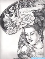 半甲纹身手稿:半甲美女凤凰纹身手稿
