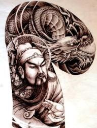 半甲纹身手稿:半甲关公骑龙纹身手稿