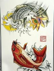 纹身520图库为你提供一张鲤鱼纹身手稿