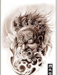 经典的观音菩萨头像纹身手稿