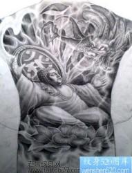 超霸气的满背佛与龙纹身手稿