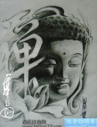 流行经典的佛头纹身手稿