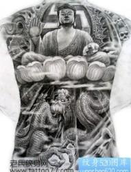 霸气的满背如来佛祖纹身手稿