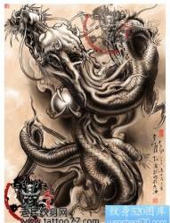 中国神龙纹身手稿