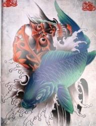 一张鲤鱼与嘎巴拉纹身手稿