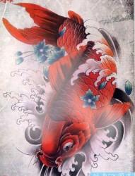 一张红色鲤鱼纹身手稿