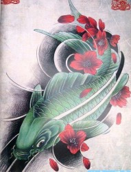 一张绿色鲤鱼纹身手稿