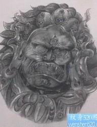 霸气超酷的大黑天菩萨纹身手稿