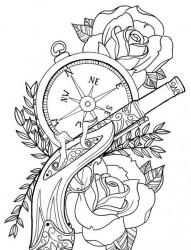 一张流行经典的手枪纹身手稿