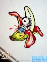 前卫另类的一张香蕉纹身手稿