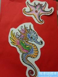 一张前卫流行的海马与海星纹身图片