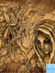 前卫漂亮啊一组欧美美女纹身手稿