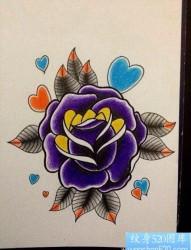 唯美好看的一张紫色玫瑰纹身手稿