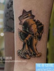 腿部可爱的小天使纹身图片