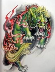 纹身520图库提供一张经典麒麟纹身手稿图片图案系列一