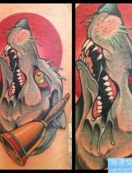 一张欧美school风格狼头纹身图案