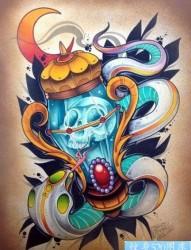 new school tattoo灵魂之灯纹身图片手稿图案