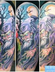 一张欧美霸气花臂纹身图片