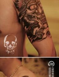 手臂超帅帅气的黑白般若与蛇纹身图片