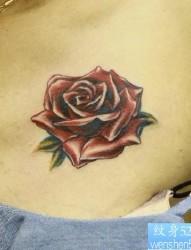 女性纹身图片:胸部彩色玫瑰纹身图案