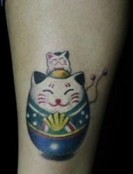 不倒翁猫形花纹图案