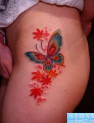 一张美女腿部漂亮的彩色蝴蝶枫叶纹身图片