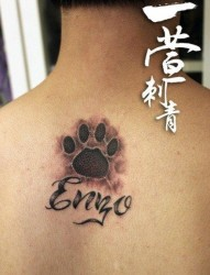 后背小巧前卫的爪印与字母纹身图片